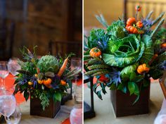 Amazing vegetable centerpieces produced by WEGMANS.  Artichokes, cabbage, carrots, thistle and little pumpkin-looking peppers on thick spiny branches.