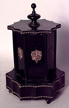 French Victorian Black Lacquered And Bronze Trimmed 6 Sided Cigar Holder With Music Box At Base