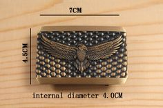 Solid Brass Retro Rectangle Eagle Embossed Belt Buckle