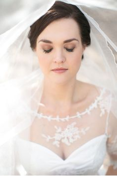 bridal makeup and the top of her dress is gorgeous!