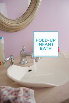 When you've got a newborn on the way, invest in a fold-up infant bath.
