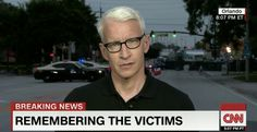 Standing blocks away from Pulse, the site of the Orlando massacre nearly two days earlier, Anderson Cooper fought back tears Monday while reporting live on CNN.