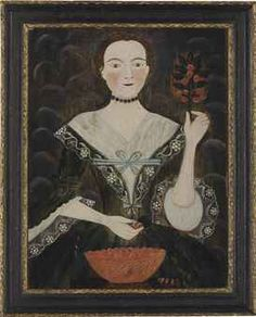 American School, 18th Century Woman with a bowl of cherries oil on panel 25 x 19¼ in. 25 x 19¼ in.