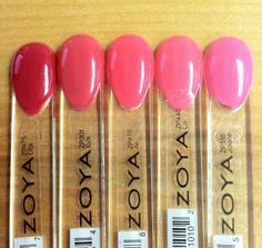 Here is a very subtle ombre manicure idea for pink lovers! From left to right: Zoya Dita, Zoya Eva, Zoya Ali, Zoya Lo and Zoya Jolene