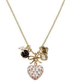 Betsy Johnson Puff Heart Pendant Necklace $38 ~ Available at Dillards.com #Dillards