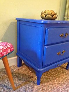 Shabby Chic, Boho, Up-cycled Night Stand in Peacock Blue