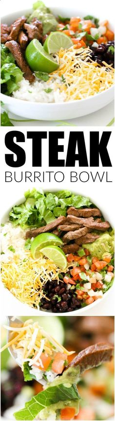 Steak Burrito Bowl from SixSistersStuff.com   Family Meal Ideas   Dinner Recipes   Beef Recipes   Mexican Food Ideas   Healthy Lunch