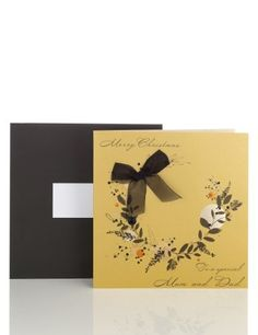 Mum & Dad Gold Wreath Christmas Card-Marks & Spencer