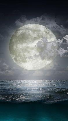 Creative Moon Surge Beach #iPhone #5s #wallpaper