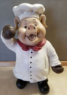"Wood 19"" Gourmet Chef Pig Statue Message Holder Dinner Decor Country Farm 