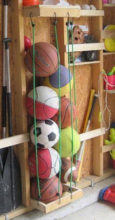 DIY Garage Storage Projects • Lots of ideas Tutorials! We need the ball storage in the picture!!!
