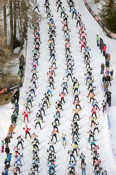 Athletes climb a hill during the #Engadine cross country skiing #marathon from Maloja to S-Chanf in south Eastern Switzerland, pic: EPA/ Peter Klaunzer