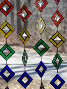 Items similar to Stained Glass Rainbow Chain, Stained Glass Suncatcher, Rainbow Suncatcher, Rainbow Bevels, Rainbow Ornaments on Etsy Stained Glass Suncatchers, Faux Stained Glass, Stained Glass Designs, Stained Glass Panels, Stained Glass Projects, Stained Glass Patterns, Leaded Glass, Mosaic Glass, Glass Wind Chimes