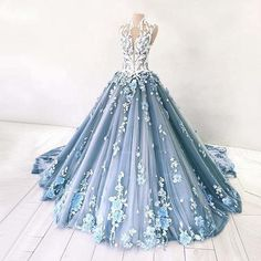 Dusty Blue Tulle Long Applique Evening Dresses, Custom Size Formal Prom Gown by . Debut Gowns, Debut Dresses, 15 Dresses, Ball Dresses, Pretty Dresses, Ball Gowns, Evening Dresses, Fashion Dresses, Formal Dresses