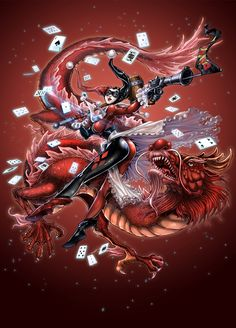 Harley Quinn WITH RED DRAGON by daxiong.deviantart.com on @deviantART