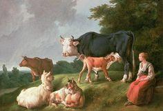 Pastoral Scene (oil on canvas) Fine Art Print by Jean-Baptiste Huet