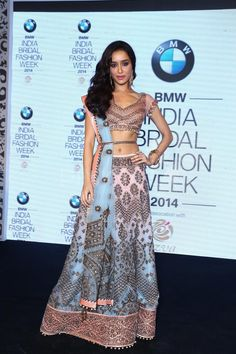 Shraddha Kapoor in beautiful multi-color embroidered JJ http://www.Valaya.com/index.htm Lehenga at BMW India Bridal Fashion Week 2014 announcement | PINKVILLA