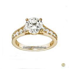 Solitário com diamantes em Ouro 18k Solitário Noivado, Aneis, Alianças De  Ouro, Anel cc11ffca38
