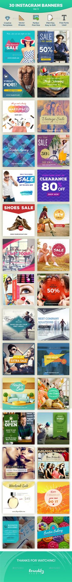 Instagram Banner Templates  #square banner #$5