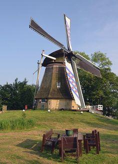Polder mill Molen De Reiger, Nijetrijne, The Netherlands