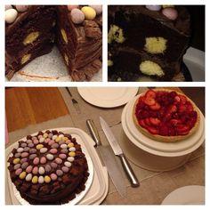 Polka dot chocolate cake and fresh fruit flan...