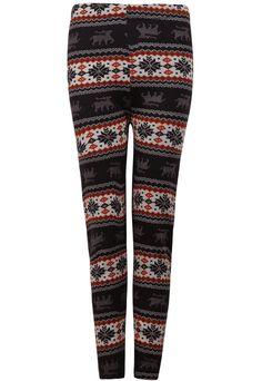 Coffee Snowflake Deer Pattern Leggings US$19.18