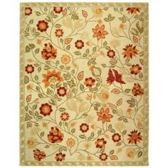 @Overstock - An elegant floral pattern highlights this hand-hooked wool rug. This floor rug has an ivory background and displays stunning panel colors of red, rust, olive green and sage green.http://www.overstock.com/Home-Garden/Hand-hooked-Eden-Ivory-Wool-Rug-89-x-119/5221752/product.html?CID=214117 $465.14