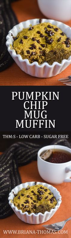 Pumpkin Chip Mug Muffin - ALLERGY FRIENDLY - THM:S - low carb - sugar free - low glycemic - gluten free - egg free - dairy free - nut free