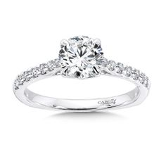Solitaire Engagement Ring with Side Stones in 14K White Gold (0.2ct. tw.)
