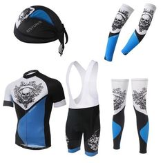 Men's Blue Skull Short Sleeve Cycling Jersey Full Set #Cycling #CyclingGear #CyclingJersey #CyclingJerseySet