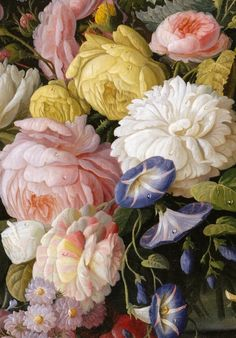 """Severin Roesen (1815-1872) - """"Still Life with Flowers and Fruit"""" (detail), 1850-55"""