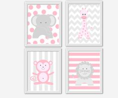 Baby GIRL Nursery Wall Art Pink Gray Elephant Giraffe Lion Monkey Wall Art Safari Jungle Zoo Animal Prints Baby Girl Nursery Decor Animal Prints for Baby Nursery Decor Chevro Polka Dots Pink Grey Art