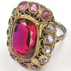 Hobe Sterling Filigree Ruby Diamante and Pink Topaz Finger Ring