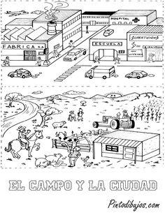 14 Mejores Imágenes De El Campo Y La Ciudad Spanish Lessons 1st