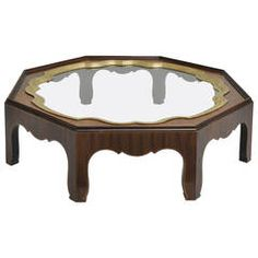 Baker Furniture Burled Wood Cocktail Table Brass and Glass Tray
