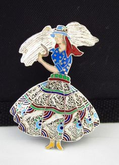 Topazio Portugal Sterling Silver Enamel woman carrying a sheath of wheat Pin