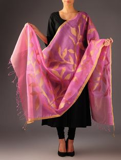 "Pink-Golden Silk Zari Jamdani Dupatta from the ""Abha"" collection @jaypore"