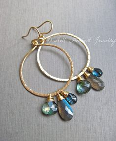 Hammered Hoop Gemstone Earrings with Labradorite London Blue