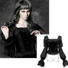 Black Long Sleeve Victorian Gothic Lolita Fashion Blouse Shirt Women SKU-11407287