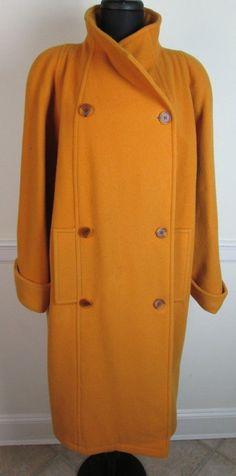 Reflections Gold 100% Wool Coat Full Length Long Jacket size 14 #Reflections #BasicCoat
