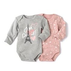 Pack of 2 Long-Sleeved Cotton Bodysuits R baby Twin Outfits, Toddler Outfits, Kids Outfits, Disney Baby Clothes, Baby Kids Clothes, Cute Baby Girl, Baby Girl Newborn, Little Girl Fashion, Kids Fashion