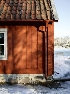Sweden House, Red Houses, Wooden Cottage, Red Roof, Aesthetic Design, Exterior House Colors, Scandinavian Home, Gazebo, 1