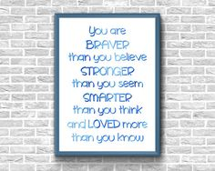 You Are Braver Than You Believe Print Stronger Than You Seem Baby Wall Art, Canvas Wall Art, Nursery Quotes, Stronger Than You, Baby Boy Nurseries, Etsy Handmade, Printable Wall Art, Believe In You, Letter Board