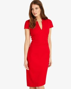 Phase Eight Roisin Cap Sleeve Dress Red