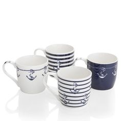 Sada 4 porcelánových hrnčekov Ahoy