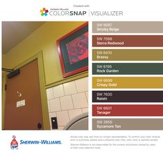 I found these colors with ColorSnap® Visualizer for iPhone by Sherwin-Williams: Smoky Beige (SW 9087), Sierra Redwood (SW 7598), Brassy (SW 6410), Rock Garden (SW 6195), Crispy Gold (SW 6699), Raisin (SW 7630), Tanager (SW 6601), Sycamore Tan (SW 2855).