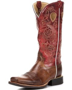 Twisted X Boots Women's Ruff Stock PWS Toe 13'' Boot - Saddle / Red