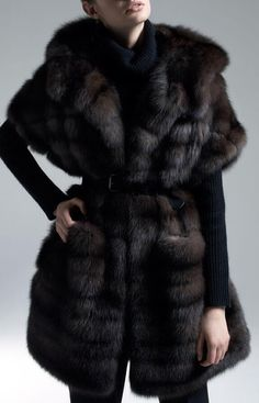 Dark Russian Sable Fur Coat with Cropped Sleeves | Kaufman Furs