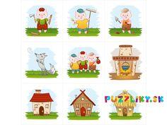 O troch prasiatkach - bavlnené kartičky. Jedna zo série našich vlastných ilustrácií venovaných českým a slovenským rozprávkam. Rozprávka o troch prasiatkach obsahuje klasické motívy na 9 kartičkách, každá o veľkosti 8x8 cm. Cena je za 1 panel. Vhodné aj ako pexeso, ale je potrebné zakúpiť 2 kusy do páru. Názvy: Tři… Little Pigs, Peanuts Comics, Fictional Characters, Teacup Pigs, Piglets, Fantasy Characters
