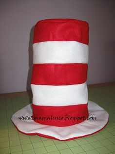 Seuss Hat tutorial on Mama Lusco Handmade Dr. Seuss, Dr Seuss Day, Dr Suess Hats, Dr Seuss Crafts, Kids Crafts, Nifty Crafts, Hat Crafts, Cat In The Hat Party, Hat Template